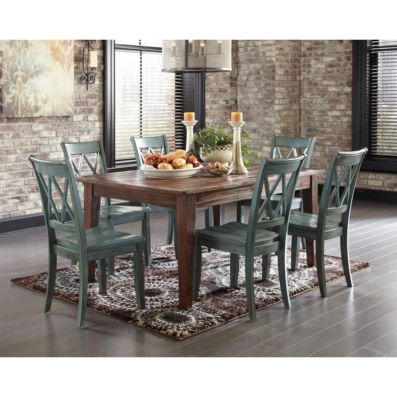 Ashley Mestler Weathered Blue 7 Piece Dining Set