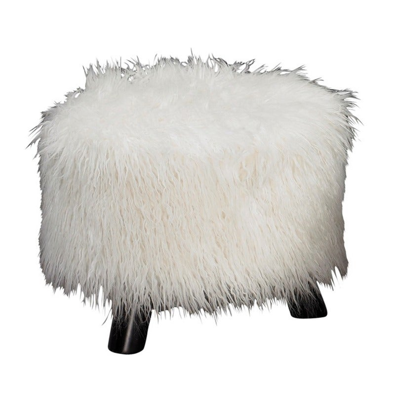 White Faux Fur Stool | Weekends Only Furniture and Mattress