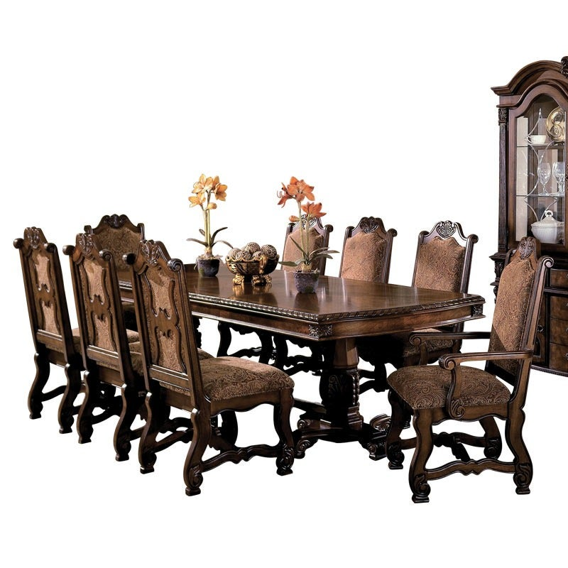 Renaissance 9 Piece Traditional Dining Set with 2 Arm Chairs