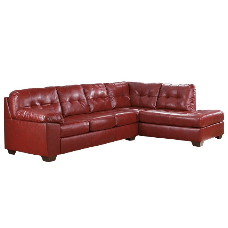 Ashley Alliston Salsa Red Bonded Leather Sectional | Weekends Only Furniture and Mattress