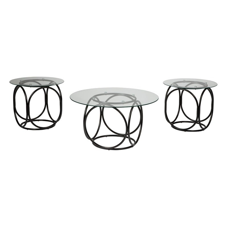 Ashley Quassey Black Metal and Glass 3-Pack of Tables | Weekends Only Furniture and Mattress