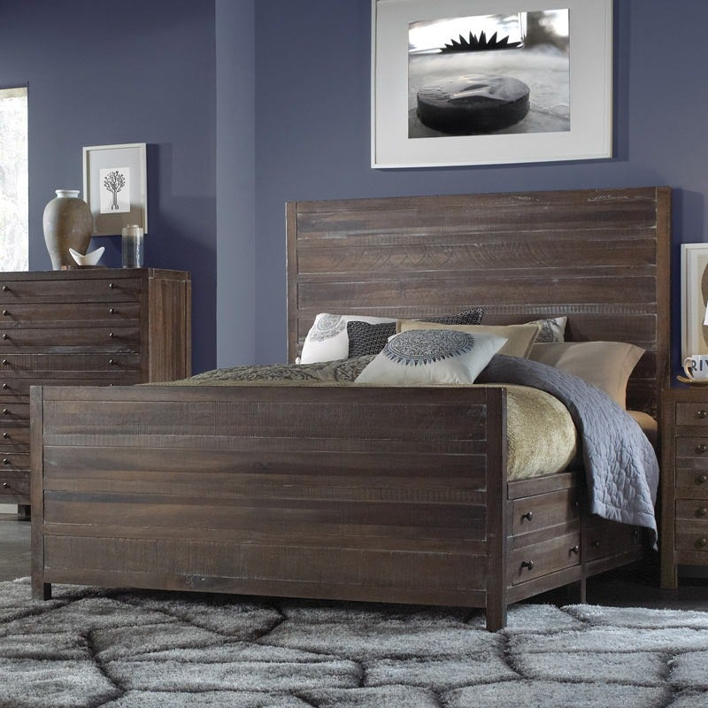 Light Brown Wood Townsend King Storage Bed