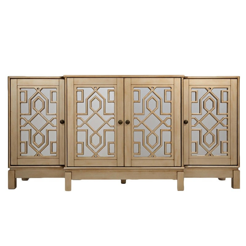 """Casa Bella Champagne Gold 70"""" Mirrored TV Stand   Weekends Only Furniture and Mattress"""