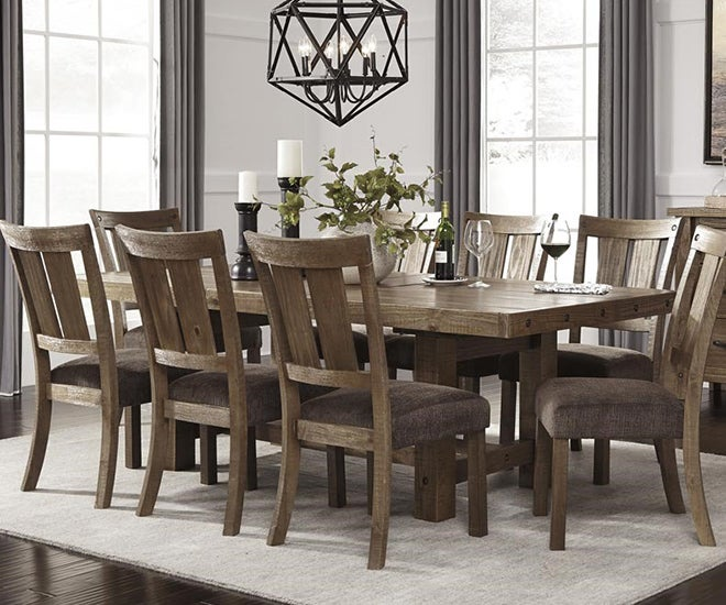 8 Seat Brown Wood Dining Table Set
